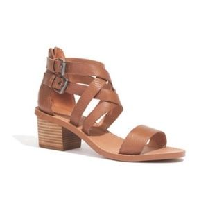 Madewell Lora Brown Leather Block Heel Sandal 7
